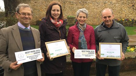 Peter Endersby, Jane Nicholls, Lynette Talbot and Mike Vine with the awards from the event.