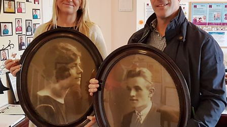 Rose Lawn manager Kerrie Howard with Martyn Bagwell and pictures of his grandparents, Edith and Arth