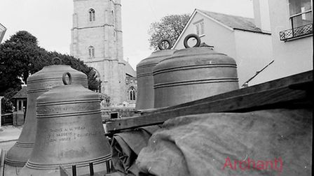 The bells are returned to Sidmouth Parish Church. Ref shs Church bells Nost 824 1972-9. Picture: Arc