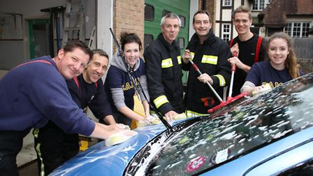 Charity car wash at Sidmouth Fire Station. Ref shs 7821-50-15TI. Picture: Terry Ife