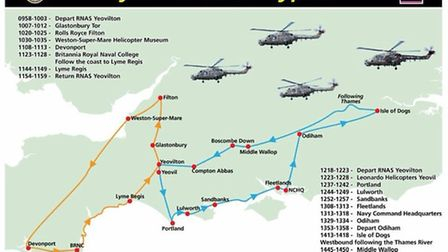 The route the Lynx's are taking on their farewell flypast. Credit: Royal Navy