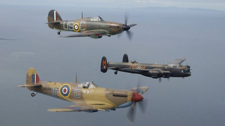 Pictured are aircraft of the Royal Air Forces Battle of Britain Memorial Flight fyling over Blackpoo