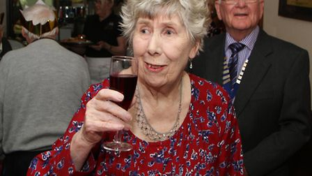 Betty Williams joins the guests at her Christmas lunch she paid for at the Lamb and Flag in Ottery S