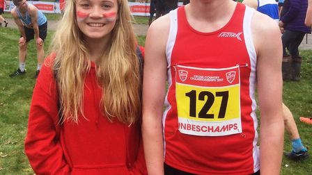 Kate Marriott and Toby Garrick who took part in the English Schools Cross Country Championships held