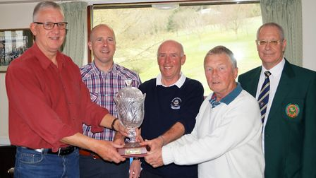 The presentation of the John Griffiths trophy. (Left to right) Lester Willmington, Anthony ('Griff')