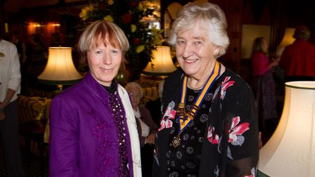 President of The Inner Wheel Hilary Hatherley with guest speaker Anna Sutherland. Ref shs 11-17TI 88