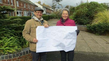Sidmouth in Bloom treasurer Peter Endersby and chairman Lynette Talbot with their plans for a sensor