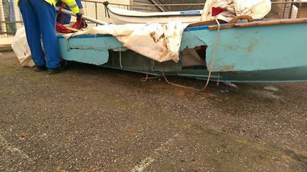 Damage to the dinghy found floating near Sidmouth