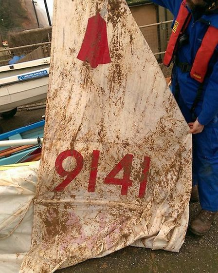 The sail of the dinghy found floating near Sidmouth