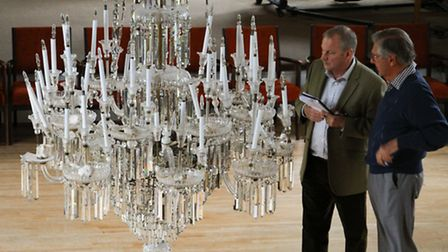 David Wilkinson who holds a royal warrant for glass restoration, gave a talk about the chandeliers a