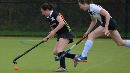 Action from Sidmouth and Ottery Hockey Club Ladies' first team versus Exe. SOHC won 6-0. Picture: An