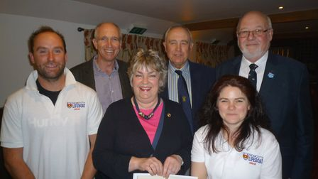 (l-r) Guy Russell, Sidmouth Lifeboat coxswain, Rotarians Paul Dowen, Sally Wilcox, John Fowler and L