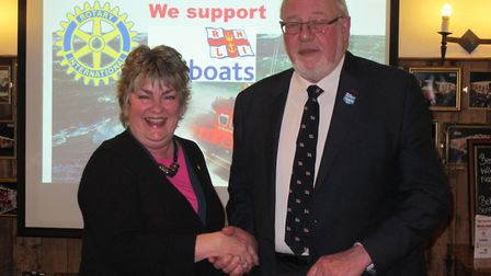 Sally Wilcox, Sid Valley Rotary President and Ed Harrison, Chairman of Sidmouth Branch of RNLI – rec