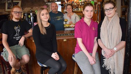 L-R Aled Foley, Hannah Cureton, Mike and Jacqui Down, Charlotte Wills, Gemma Luscombe