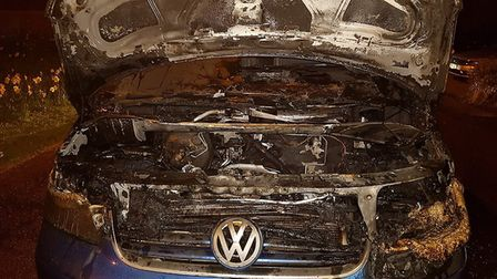 A van was severely damaged by a fire in Fortescue Road, Sidmouth. Photo by Sidmouth Fire Station