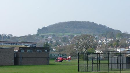 Resident Steve Tucker took these photos of the air ambulance landing in Primley Road.