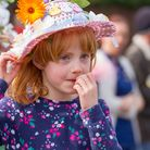 Easter Bonnet parade at the Vicarage Road site of Sidmouth Primary school. Ref shs 13-17TI 9843. Pic