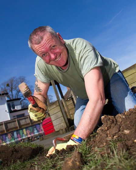 Vince Thorne digs out a post hole at the family ground force day. Ref shs 13-17TI 9401. Picture: Ter