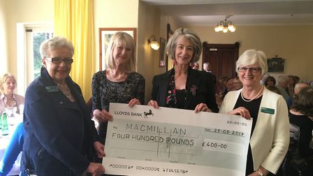 Tricia Heard and Pam Ward from Macmillans with author Jane Corry and actress and author Maureen Lipm