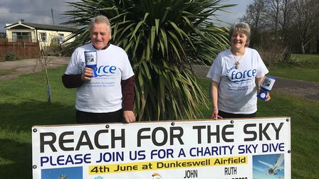 John Hounsell and Ruth Burrow are hoping to reach for the sky in aid of FORCE. John, 75, was diagnos