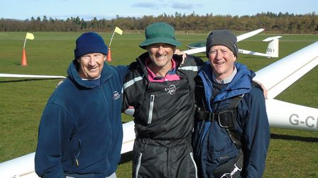 Ottery St Mary glider pilot Pete Startup with fellow Devon and Somerset Gliding Club pilots Stu Proc