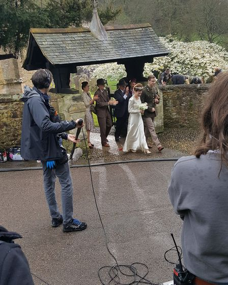 Churchwarden Renee Forth saw the production company filming a 1940s-style wedding scene at The Paris