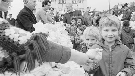 Sidmouth Hot Cross Bun giveaway. Ref shs Hot Cross Buns Nost 824 1972-6. PICTURE: Archant archives