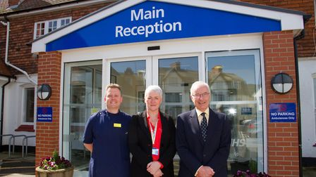 Graham Vincent with Matron David Williams and Suzanne Tracy the Chief Executive of RDE Hospital befo