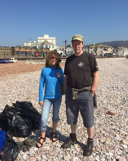 Volunteers at the Surfers Against Sewage beach clean in Sidmouth on Saturday