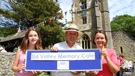 Salcombe Regis fair 2016. Emily Jones, Adrian Ford and Louise Knight of the Sid Valley Memory Cafe,