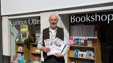 Adrian Lea with old copies of the Ottery Gazette. Ref sho 14 17TI 0571. Picture: Terry Ife