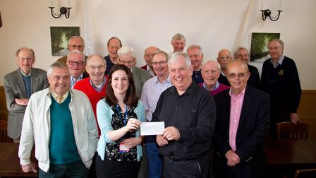 Cheque presentation from Keith Walton President of Rotary club of Sidmouth to Admiral Nurse Heidi Cr