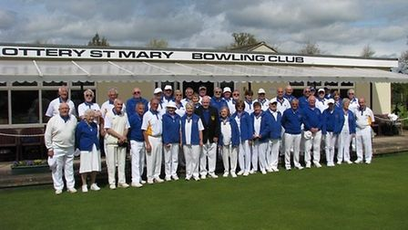 Ottery St Mary Bowls Club members before the opening drive to launch a new season of outdoor bowling