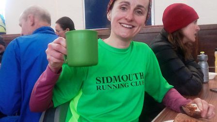 Carine Silver with a richly deserved cup of tea after her extraordinary run at the Wellington Boot.