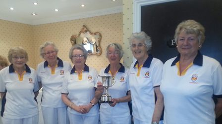 Sidmouth ladies with the Foxlands Division Two trophy
