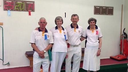 The finalists in the Sidmouth indoor pairs competition.