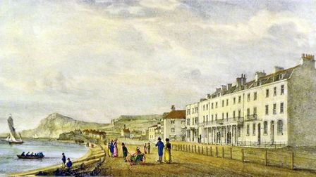 A drawing of Sidmouth's Esplanade in 1826 from Tamsines Diary the life and times of a Devon Gentlewo