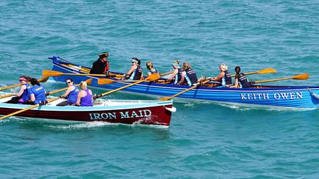 Sidmouth rowers were (from the bow) Kath Morton, Gina Rodgers, Heather Foster, Sarah Green, Megan Ro
