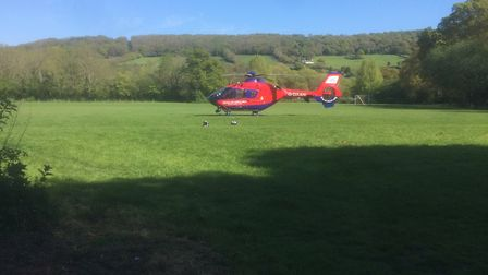 Devon Air Ambulance was called out to Sidmouth alongside paramedics after reports of a man having a