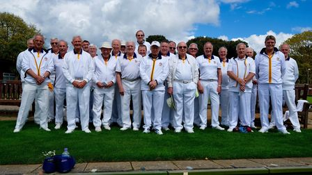 The Sidmouth men before their meeting with the ladies that they won quite convincingly on this occas