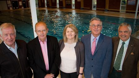 Steve Gunnell (left) of Sidmouth Rotary with this years swimathon beneficiaries Adrian Ford (admiral