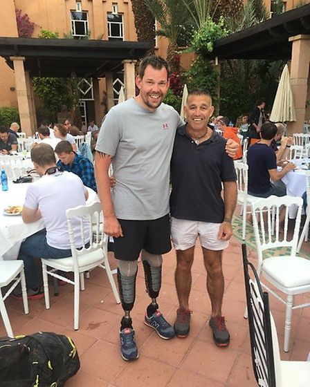 Baz Gorman with Duncan Slater who is the first double amputee to complete the Marathon Des Sables.