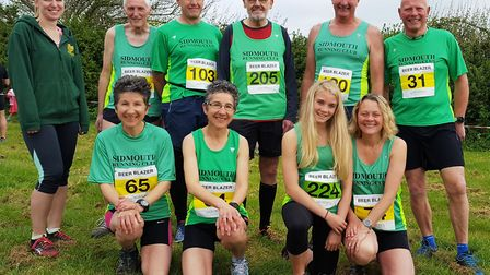 The Sidmouth runners in their Mighty Green shirts at the Beer Blazer