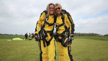 Leila Stone and Natalie Taylor completed their 15,000ft skydive on Sunday.