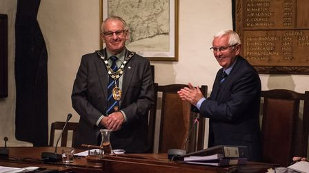 Councillor Ian McKenzie-Edwards with outgoing chairman Cllr Jeff Turner. Photo by Kyle Baker.