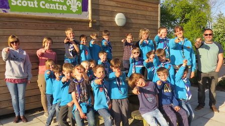 The 1st Sid Vale Scouts Beaver Colony with leader Sarah Fletcher and some parent helpers. Picture: G