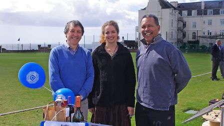 left to right Robert McIlwraith of Sidmouth Hospiscare and Auriel McShaw with her father Frederick o
