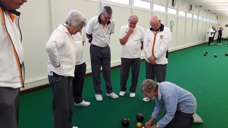 Instruction during the Markers course held at Sidmouth Bowls Club