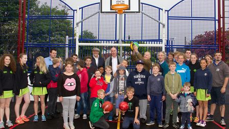 Ian McKenzie-Edwards opens the Sidmouth multi use games area at Manstone Lane. Ref shs 20 17TI 3176.