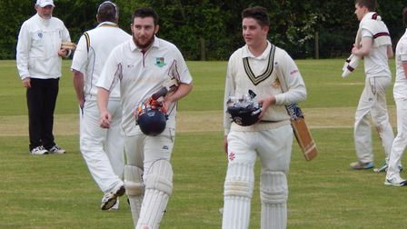 Sidmouth's unbroken half centurion openers Tom Clay and Dec Lines after their innings together at Br